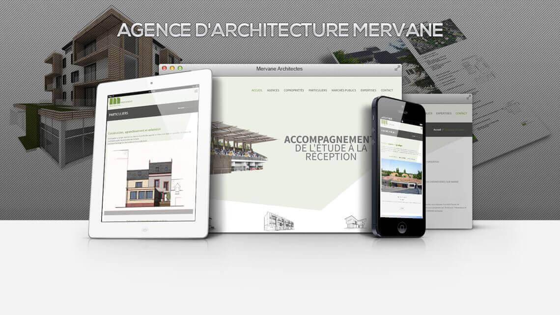 Kagency a mis en ligne le site web du Cabinet d'Architecture Mervane - Paris et Nantes