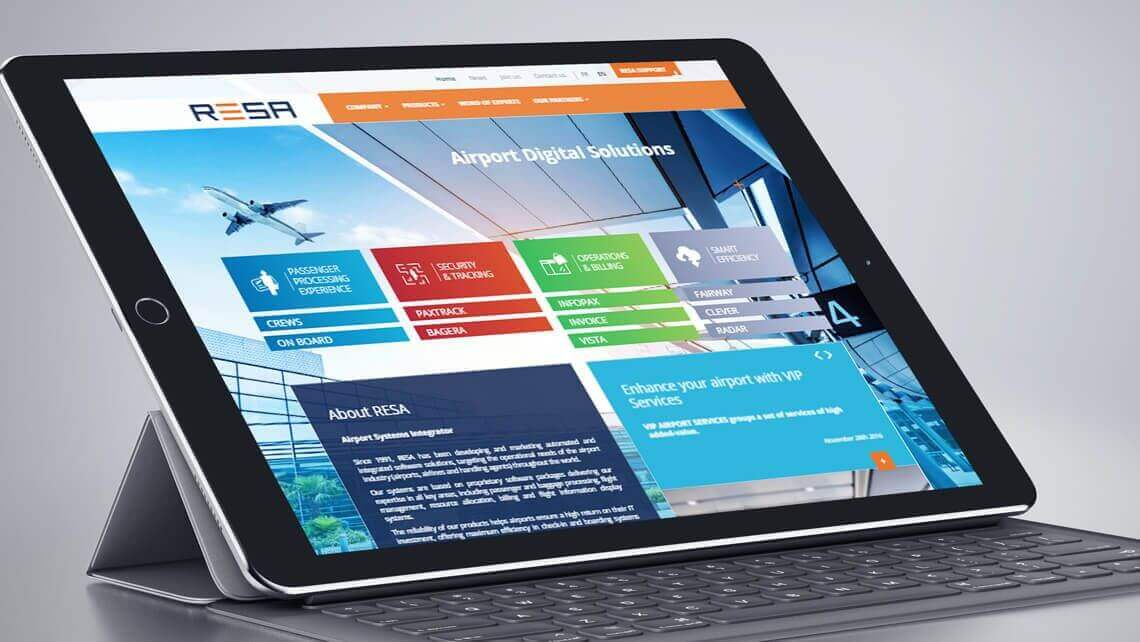 Refonte du site web de Resa Airport Digital Solutions par Kagency