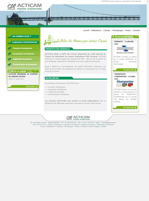 ACTICAM avant la refonte du site web