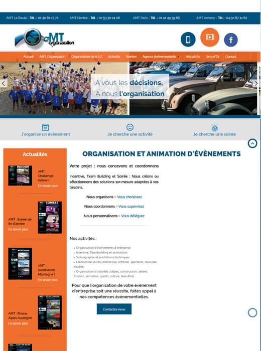 Refonte de l'ancien site internet d'AMT Organisation par Kagency Nantes