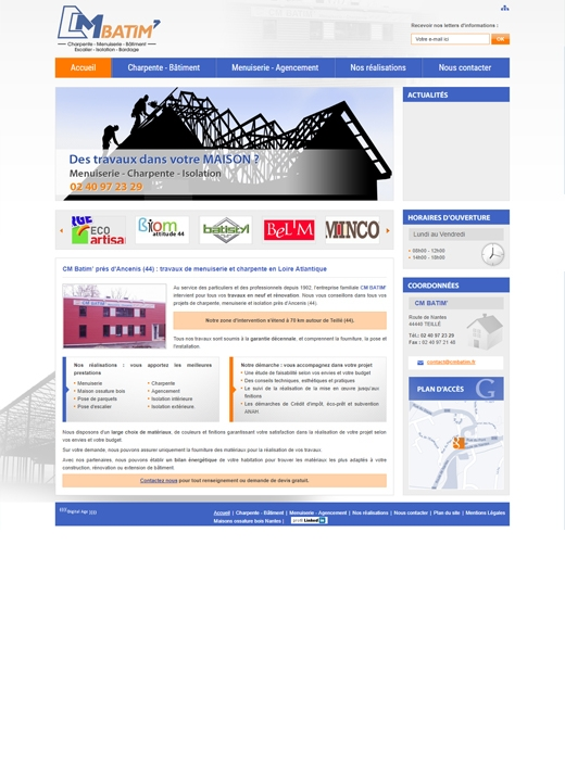Le site internet de CM Batim avant.