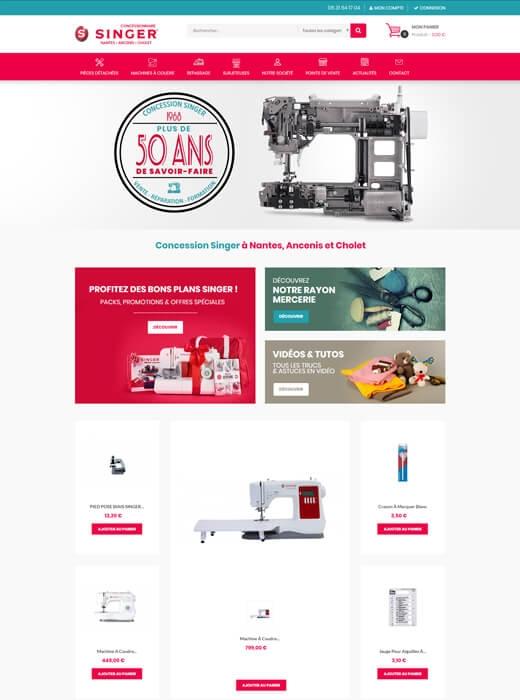 Kagency a créé le nouveau site e-commerce de la concession Singer Nantes, Ancenis, Cholet