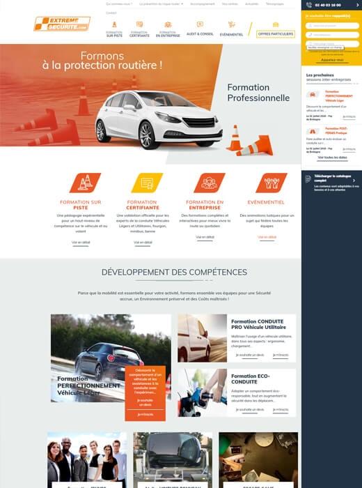 Création de la nouvelle version du site internet d'Extrême Sécurité par Kagency Nantes