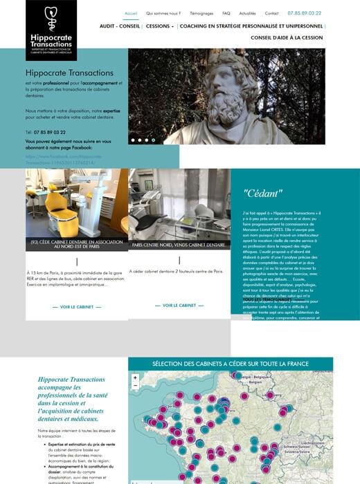 Le site web Hippocrate Transactions avant la refonte par Kagency Nantes