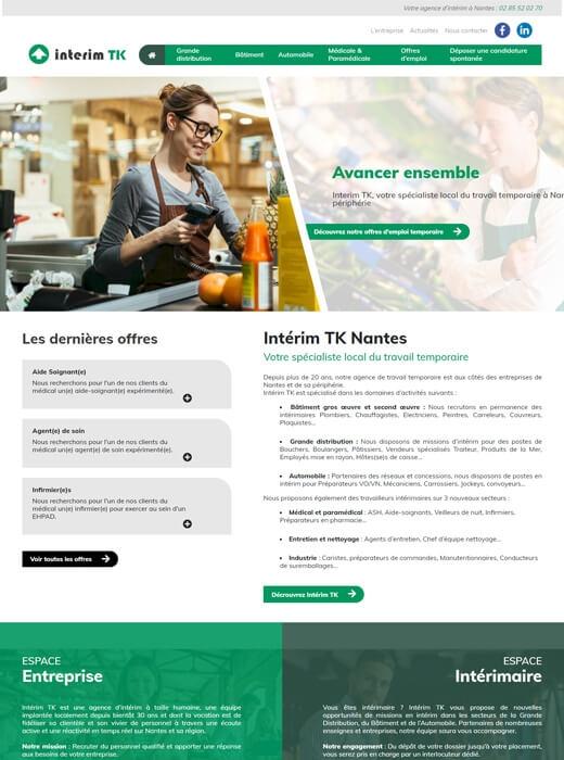 Création du site internet d'Intérim TK par Kagency Nantes