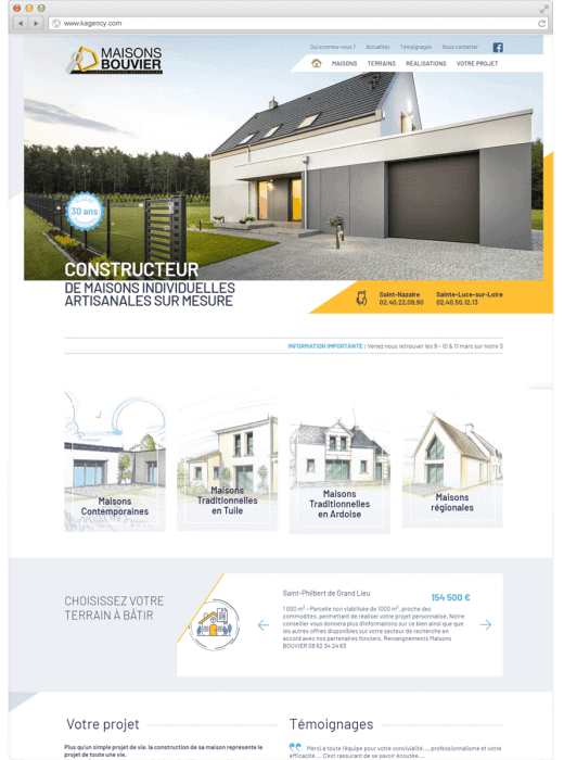 Nouveau site web des Maisons Bouvier