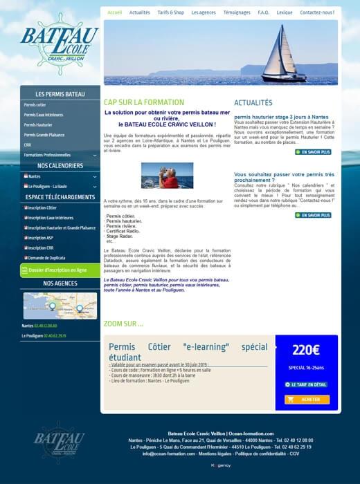 Le site web d'Océan Formation avant sa refonte par Kagency Nantes