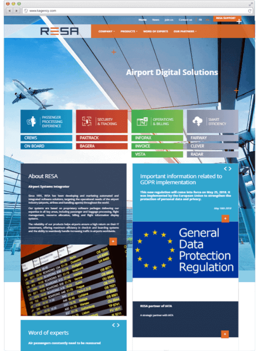 Refonte du site web de RESA Airport Digital Solutions