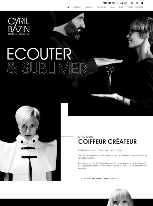 Refonte du site web de Cyril Bazin Coiffeur Créateur par Kagency Nantes