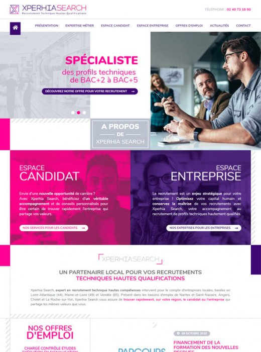 Création du nouveau site web Xperhia Search Nantes par Kagency