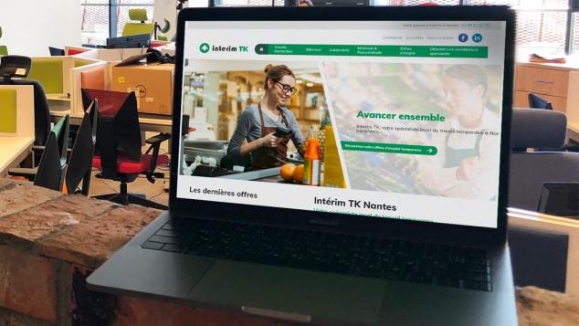 Création du nouveau site internet d'Intérim TK par Kagency Agence Web à Nantes