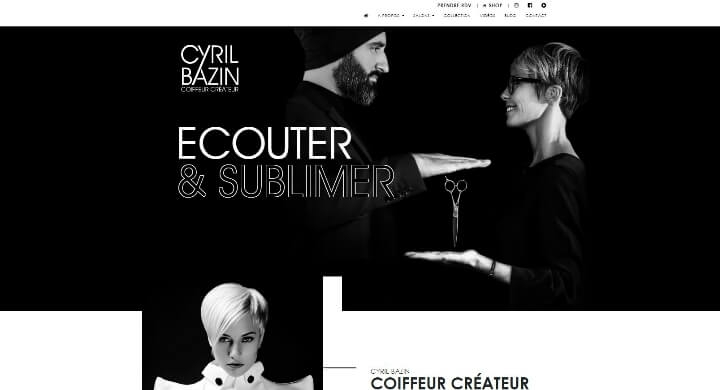 Création du web design pour le site internet de Cyril Bazin Coiffeur Créateur par Kagency Nantes