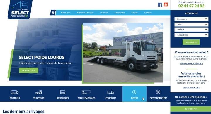 Refonte du site web de Select Poids Lourds Angers par Kagency Nantes