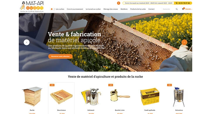 Création du site e-commerce Prestashop de Mat Apiculture par Kagency Nantes