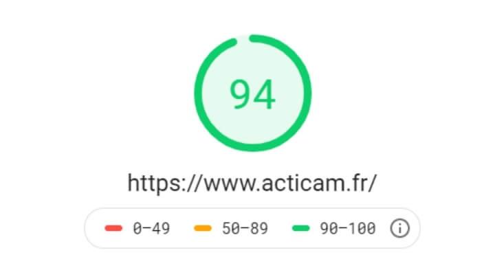 Optimisation Mobile du site web Acticam avec Page Speed Insight